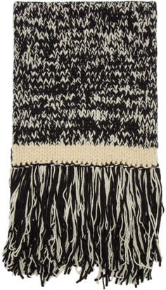 Joseph Black and Off-White Knit Scarf