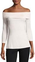Neiman Marcus Off-the-Shoulder 3/4-Sleeve Top, Light Pink