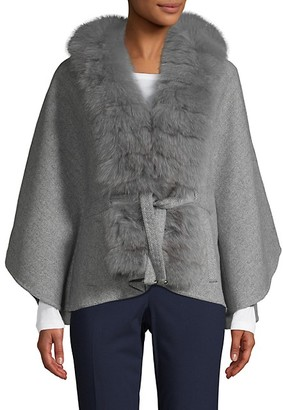 Wolfie Fur Made For Generation Fox Fur-Trim Cashmere Wool-Blend Cape