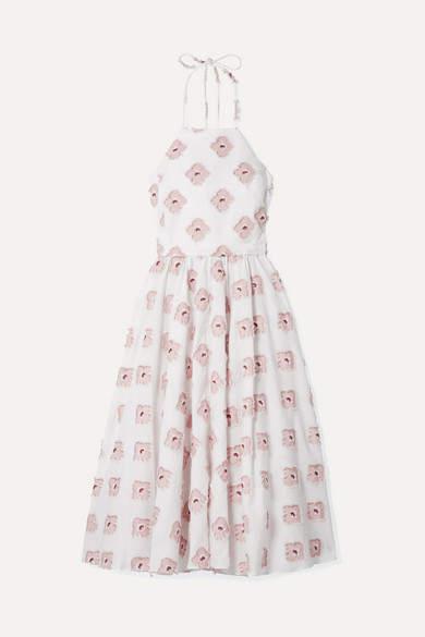 Caroline Constas Gretta Metallic Fil Coupé Cotton-blend Midi Dress - White