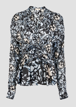 Alaia Cinched Floral Printed Silk Habotai Blouse