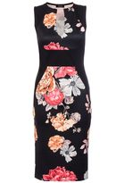 Quiz Black And Red Flower Print Midi Dress