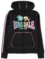 Lonsdale London Kids Inter Lock Hoodie Hoody Hooded Top Junior Girls Stripe Jersey Zip