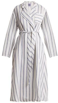 Thierry Colson Biarritz Striped Linen-blend Coat - Blue Stripe