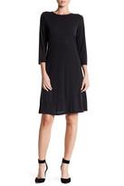 Bobeau 3/4 Sleeve Dress with Keyhole Back