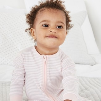 The White Company Organic Cotton Pink Stripe Zip Sleepsuit, Pink Stripe, 18-24mths