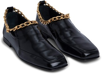 BY FAR Nick Chain Trim Patent Leather Loafer