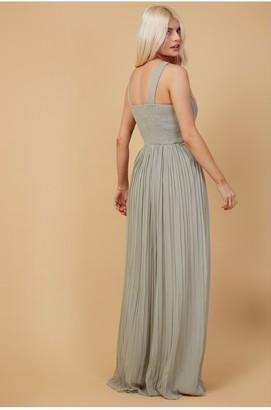 Little Mistress Bridesmaid Kellie Waterlily Lace Insert Pleated Maxi Dress