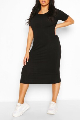 boohoo Plus Cap Sleeve Jersey Midi Dress