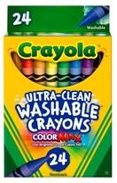 Crayola Ultra-Clean Crayons, Large, Washable, 24ct - Multicolor