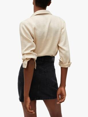 MANGO Buttoned Denim Mini Skirt