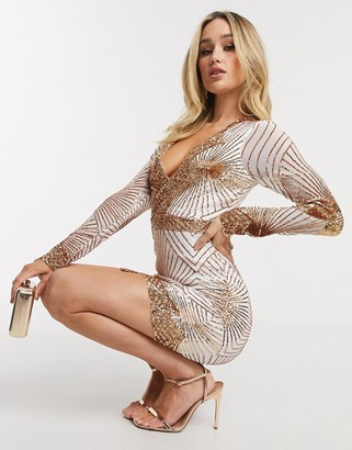 Goddiva plunge embellished sequin mini dress with long sleeves in rose gold