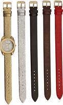 Vernier Gold & Red Metallic Textured Watch Set