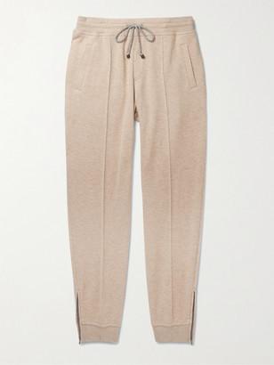 Brunello Cucinelli Slim-Fit Melange Cashmere And Cotton-Blend Drawstring Sweatpants