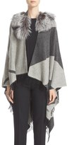 Fendi Cashmere & Wool Cape with Genuine Fox Fur Collar