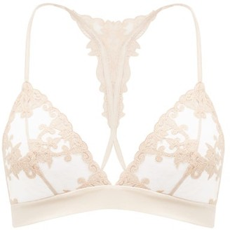 Fleur of England Dahlia Embroidered-tulle Soft-cup Bra - Light Beige