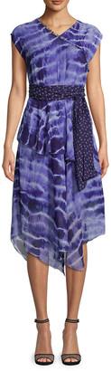 Nicole Miller Watercolor Tie Dye Midi Dress