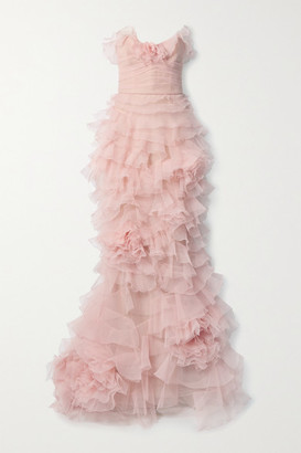 Marchesa Strapless Ruffled Organza And Tulle Gown - Blush