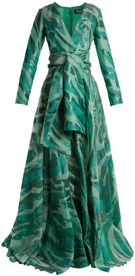 Azzaro Acid long-sleeved jacquard gown