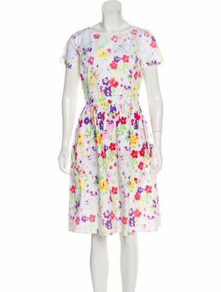 Oscar de la Renta Floral Print Midi Dress White