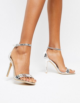 Glamorous Silver Mirror Barely There Heeled Sandal