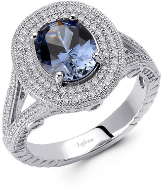 Lafonn Platinum Over Sterling Silver Oval-Cut Lab Created Sapphire & Micro Pave Simulated Diamond Ring