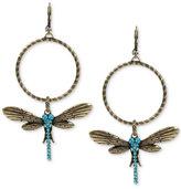 Betsey Johnson Gold-Tone Blue Crystal Dragonfly Gypsy Hoop Earrings