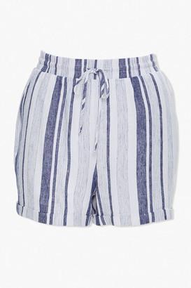 Forever 21 Plus Size Striped Linen-Blend Shorts
