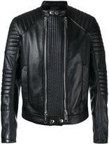 Les Hommes double zip jacket - men - Leather/Viscose - 50