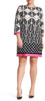 Eliza J Border Print Jersey Shift Dress (Plus Size)