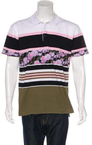 Givenchy Floral Striped Polo Shirt