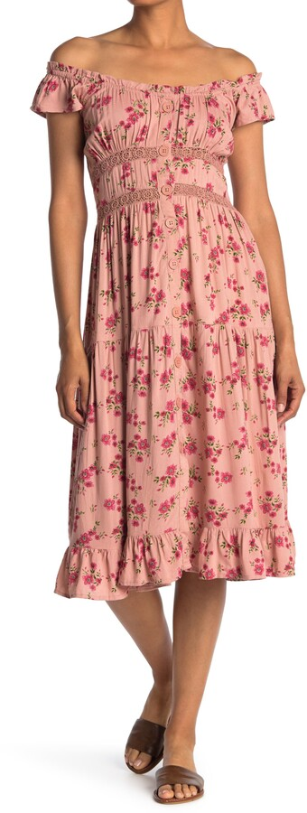 Thumbnail for your product : Angie Floral Tiered Crochet Trim Dress
