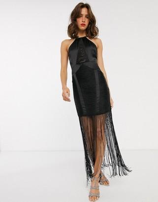 ASOS DESIGN drape fringe halter neck pencil midi dress
