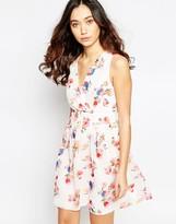 Iska Wrap Front Dress in Tulip Print