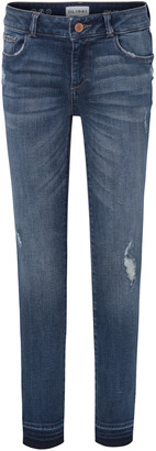 DL1961 Girls' Medium Wash Distressed Skinny Jeans w/ Double Cross Hem, Size 7-16