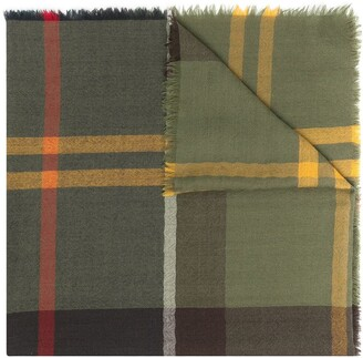 Barbour Checked Frayed Edge Scarf