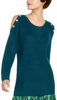 INC International Concepts Inc Grommet Cold-Shoulder Sweater, Created for Macy's