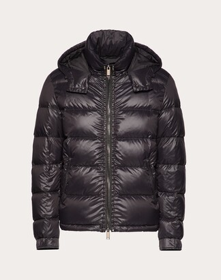 Valentino Rockstud Untitled Hooded Puffer Coat Man Black Polyamide 100% 56