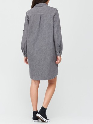 Very Relaxed Denim Shirt Dress - Washed Black