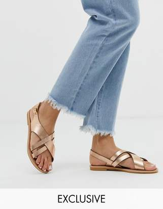 Head Over Heels By Dune Exclusive Larra rose gold cross over multi strap toe post sandals