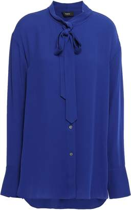 Theory Pussy-bow Silk-crepe Blouse