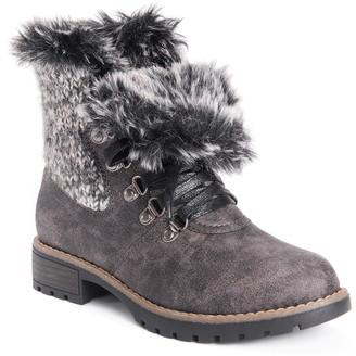 Muk Luks Verna Faux Fur Lace-Up Boot