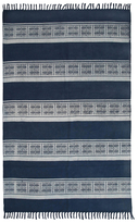 Karma Living Dabu Asian Stripe Block Printed Handmade Cotton Rug