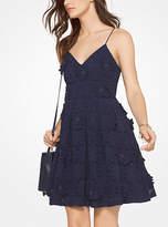 Michael Kors Floral Applique Lace Cotton Dress