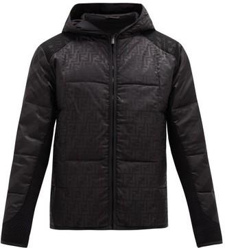 Fendi Ff-jacquard Mesh Panel Padded Jacket - Black