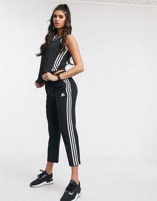 adidas Training cropped 3 stripe pants in black
