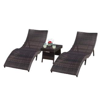 Christopher Knight Home Acapulco 3pc Wicker Folding Chaise Lounge Set - Multibrown