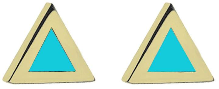Jennifer Meyer Turquoise Inlay Triangle Stud Earrings - Yellow Gold