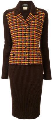 Chanel Pre Owned 1995 Check Panel Dress