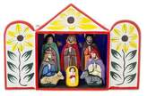 Hand Crafted Christmas Nativity Scene Sculpture, 'Caring for Baby Jesus'